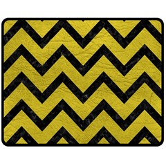 Chevron9 Black Marble & Yellow Leather Double Sided Fleece Blanket (medium)  by trendistuff