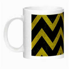 Chevron9 Black Marble & Yellow Leather (r) Night Luminous Mugs by trendistuff
