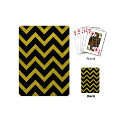 Chevron9 Black Marble & Yellow Leather (r) Playing Cards (mini)  by trendistuff
