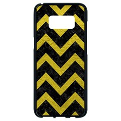 Chevron9 Black Marble & Yellow Leather (r) Samsung Galaxy S8 Black Seamless Case by trendistuff
