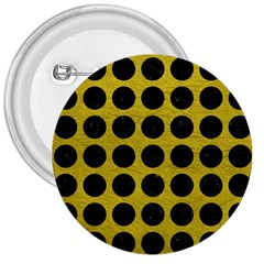 Circles1 Black Marble & Yellow Leather 3  Buttons by trendistuff