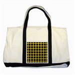 CIRCLES1 BLACK MARBLE & YELLOW LEATHER Two Tone Tote Bag Front