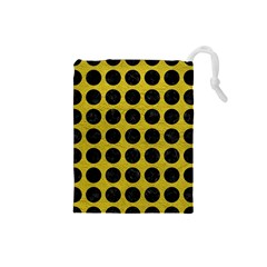 Circles1 Black Marble & Yellow Leather Drawstring Pouches (small)  by trendistuff