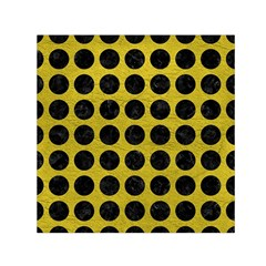 Circles1 Black Marble & Yellow Leather Small Satin Scarf (square) by trendistuff
