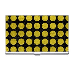 Circles1 Black Marble & Yellow Leather (r) Business Card Holders by trendistuff