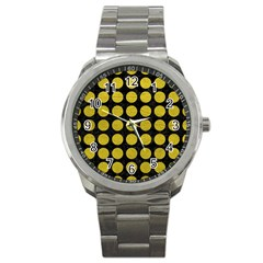 Circles1 Black Marble & Yellow Leather (r) Sport Metal Watch