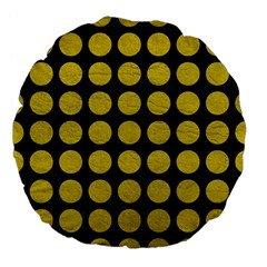 Circles1 Black Marble & Yellow Leather (r) Large 18  Premium Flano Round Cushions by trendistuff