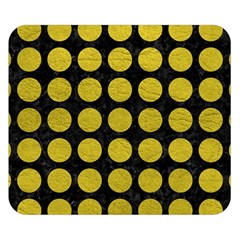 Circles1 Black Marble & Yellow Leather (r) Double Sided Flano Blanket (small)  by trendistuff