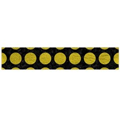Circles1 Black Marble & Yellow Leather (r) Large Flano Scarf  by trendistuff