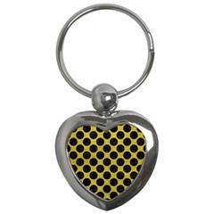 Circles2 Black Marble & Yellow Leather Key Chains (heart)  by trendistuff