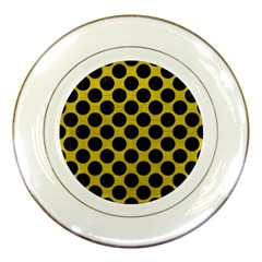 Circles2 Black Marble & Yellow Leather Porcelain Plates by trendistuff