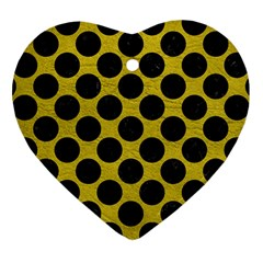 Circles2 Black Marble & Yellow Leather Heart Ornament (two Sides) by trendistuff