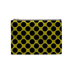 Circles2 Black Marble & Yellow Leather Cosmetic Bag (medium)  by trendistuff