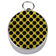 Circles2 Black Marble & Yellow Leather Silver Compasses by trendistuff