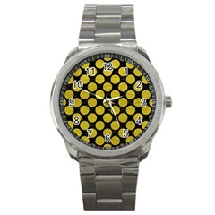 Circles2 Black Marble & Yellow Leather (r) Sport Metal Watch by trendistuff
