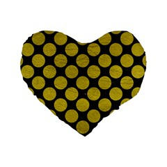 Circles2 Black Marble & Yellow Leather (r) Standard 16  Premium Heart Shape Cushions by trendistuff