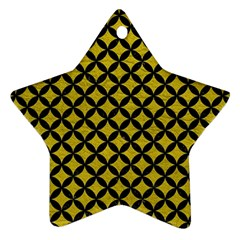 Circles3 Black Marble & Yellow Leather Star Ornament (two Sides) by trendistuff