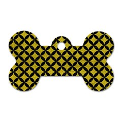 Circles3 Black Marble & Yellow Leather Dog Tag Bone (two Sides) by trendistuff