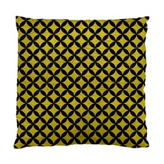 Circles3 Black Marble & Yellow Leather Standard Cushion Case (one Side) by trendistuff