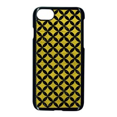 Circles3 Black Marble & Yellow Leather Apple Iphone 7 Seamless Case (black) by trendistuff