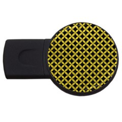 Circles3 Black Marble & Yellow Leather (r) Usb Flash Drive Round (2 Gb) by trendistuff