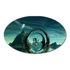 Cute Fairy Dancing On The Moon Oval Magnet by FantasyWorld7