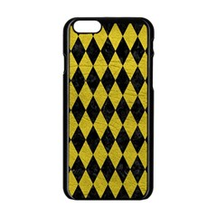 Diamond1 Black Marble & Yellow Leather Apple Iphone 6/6s Black Enamel Case by trendistuff