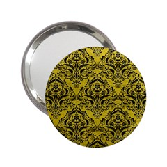 Damask1 Black Marble & Yellow Leather 2 25  Handbag Mirrors by trendistuff