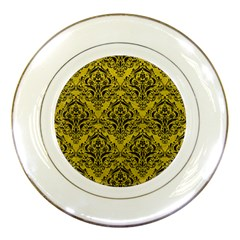 Damask1 Black Marble & Yellow Leather Porcelain Plates by trendistuff