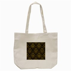 Damask1 Black Marble & Yellow Leather (r) Tote Bag (cream) by trendistuff