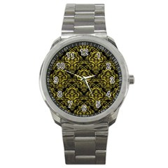 Damask1 Black Marble & Yellow Leather (r) Sport Metal Watch