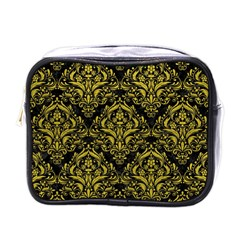 Damask1 Black Marble & Yellow Leather (r) Mini Toiletries Bags by trendistuff