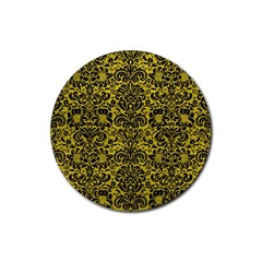 Damask2 Black Marble & Yellow Leather Rubber Coaster (round)  by trendistuff