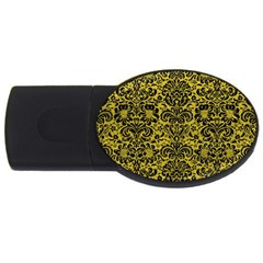 Damask2 Black Marble & Yellow Leather Usb Flash Drive Oval (2 Gb) by trendistuff