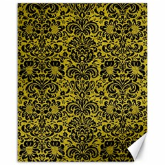 Damask2 Black Marble & Yellow Leather Canvas 16  X 20   by trendistuff