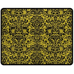 Damask2 Black Marble & Yellow Leather Double Sided Fleece Blanket (medium)  by trendistuff