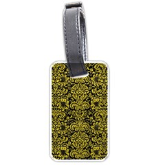 Damask2 Black Marble & Yellow Leather (r) Luggage Tags (one Side)  by trendistuff
