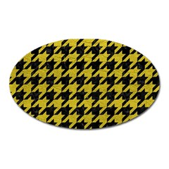 Houndstooth1 Black Marble & Yellow Leather Oval Magnet by trendistuff