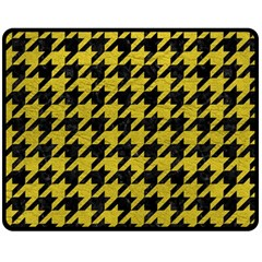 Houndstooth1 Black Marble & Yellow Leather Fleece Blanket (medium)