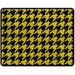 HOUNDSTOOTH1 BLACK MARBLE & YELLOW LEATHER Fleece Blanket (Medium)  60 x50 Blanket Front