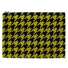 Houndstooth1 Black Marble & Yellow Leather Cosmetic Bag (xxl)  by trendistuff