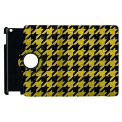 Houndstooth1 Black Marble & Yellow Leather Apple Ipad 2 Flip 360 Case by trendistuff