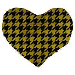 Houndstooth1 Black Marble & Yellow Leather Large 19  Premium Heart Shape Cushions by trendistuff