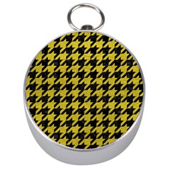 Houndstooth1 Black Marble & Yellow Leather Silver Compasses by trendistuff
