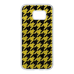 Houndstooth1 Black Marble & Yellow Leather Samsung Galaxy S7 Edge White Seamless Case by trendistuff
