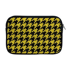 Houndstooth1 Black Marble & Yellow Leather Apple Macbook Pro 17  Zipper Case by trendistuff