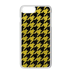 Houndstooth1 Black Marble & Yellow Leather Apple Iphone 8 Plus Seamless Case (white) by trendistuff