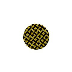 Houndstooth2 Black Marble & Yellow Leather 1  Mini Magnets