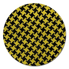 Houndstooth2 Black Marble & Yellow Leather Magnet 5  (round)