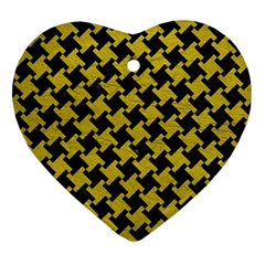 Houndstooth2 Black Marble & Yellow Leather Heart Ornament (two Sides) by trendistuff